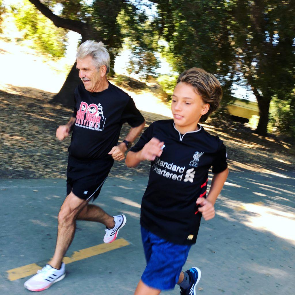 SeniorChoicesOnline - Australian grandad running with grandson