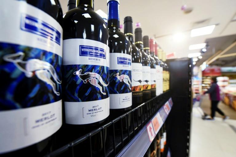 Australian wine on shelves